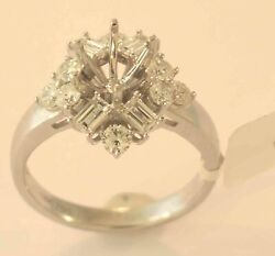 18k White Gold Diamond Engagement Ring Mounting Size 6 New With Tags