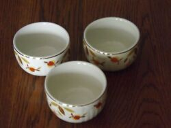 Set of 3 Vintage Hall China Jewel Tea Autumn Leaf quot;Radiancequot; Custard Cup 1936 1