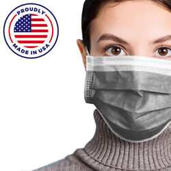 Made In Usa 50 Pcs Gray Color Face Mask Mouth And Nose Protector Respirator Masks