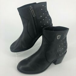 Harley Davidson Angela Black Leather Moto Boots Style D83687 WOMENS SIZE 5.5M