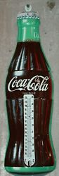 1950and039s Coca-cola Bottle Shaped Tin Thermometer Sign By Donasco