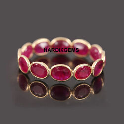 22k Solid Gold Natural Ruby Victorian Handmade Ring Band Jewelry Sz 7 Us