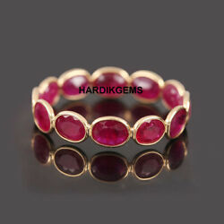 22k Solid Gold Natural Ruby Victorian Handmade Ring Band Jewelry Sz 10 Us