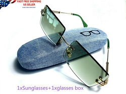 Gold Frame Rimless Shades Retro Rectangular Mens Sunglasses Green Tint Vintage $18.99