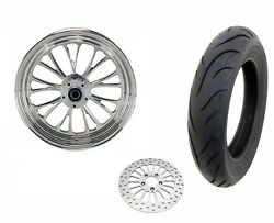 Ultima 16 3.5 Polished Manhattan Front Wheel Tire Package Harley Bw Softail 08+