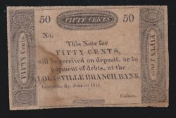 Us Kentucky 50c Bank Of Kentucky Haxby 110-g132 Obsolete Currency Note F-vf