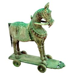 Antique Handcrafted Unique Horse Statue Figure Wooden Wheel Indian Collectible H