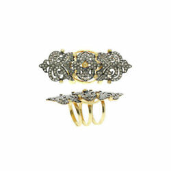 Pave Diamond Full Finger Knuckle Ring Silver Victorian Style Jewelry Jp