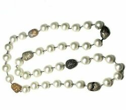 Natural Pearl Beaded Necklace Diamond Pave Vintage Look 925 Silver Jewelry Jp