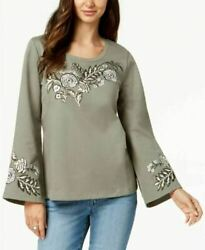 Style amp; Co Cotton Embroidered Green Long Sleeve Sweatshirt XL $15.99