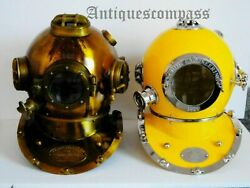 Full Iron And Brass Yellow Two Pieces Diving Helmet Heavy U.s Mark V And Iv Marine