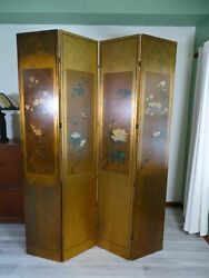 Vintage Hand Painted Reversible Wooden Oriental Folding Screen 85 H X 64 W