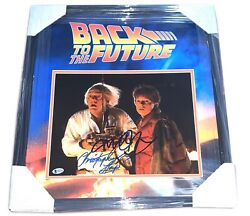 Christopher Lloyd Michael J Fox Back To The Future Signed 11x14 Framed Photo Bas