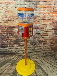 Pez Candy Inspired Vintage Gumball Machine Acorn Glass Globe With Stand Man Ca