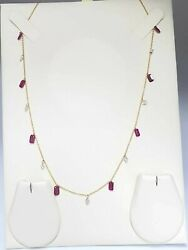 18k Yellow Gold Laser Drilled Diamond And Emerald Cut Ruby 0.70ct Necklace Chain
