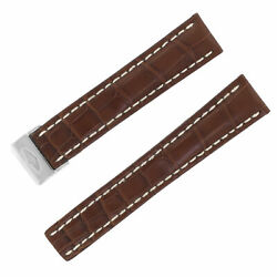 Breitling 723p 20mm Brown Leather W/ White Stitches Foldover Clasp Men's Band