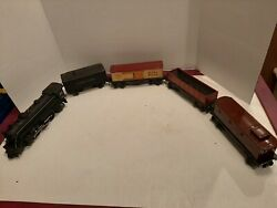 Lionel Prewar 1666 Steam Locomotive With 2689t Tender And 3 Tin Cars Nice Clean
