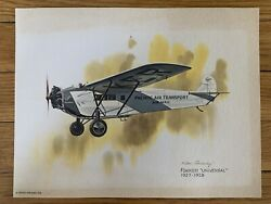 Fokker Universal 1927-1928 United Airlines 1976 Collector Print Nixon Galloway
