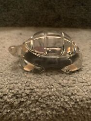 Baccarat Crystal Turtle Paper Weight Figurine From Estate Has Baccarat Signature