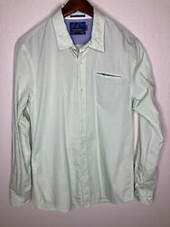 """Scotch And Soda """"dancing In The Shade"""" Button Front Shirt Green Dotted Mens Large"""