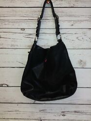 Women#x27;s Coach Large Black Leather Silver Hardware Shoulder Bag Tote GUC $39.99