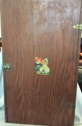 Vintage Primitive Wall Cabinet Cupboard Child Decal Jack And Jill Shelves And Latch