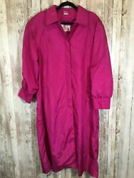 Totes Women#x27;s Rain Trench Coat Light Weight Lined Water Repellant Hot Pink Sz 12 $17.99