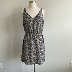 Loft Factory Black And Cream Floral Double V-neck Sleeveless Dress 6