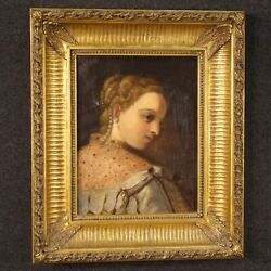 Antique Painting Framework Oil On Canvas With Frame Portrait 800 19th Century