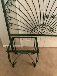 Heavy Wrought Iron Queen Headboard And Matching Night Stand With Beveled Glass