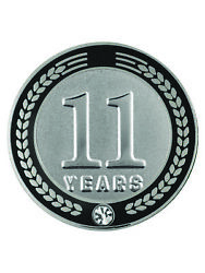 Pinmart's 11 Years Of Service Award Employee Recognition Gift Lapel Pin - Black