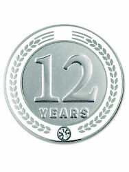 Pinmart's 12 Years Of Service Award Employee Recognition Gift Lapel Pin - White