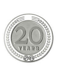 Pinmart's 20 Years Of Service Award Employee Recognition Gift Lapel Pin - White