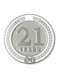 Pinmart's 21 Years Of Service Award Employee Recognition Gift Lapel Pin - White