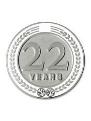 Pinmart's 22 Years Of Service Award Employee Recognition Gift Lapel Pin - White