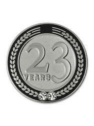 Pinmart's 23 Years Of Service Award Employee Recognition Gift Lapel Pin - Black