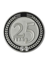 Pinmart's 25 Years Of Service Award Employee Recognition Gift Lapel Pin - Black