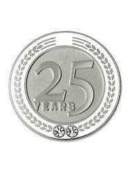 Pinmart's 25 Years Of Service Award Employee Recognition Gift Lapel Pin - White