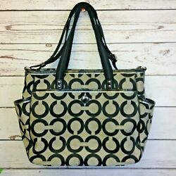 Women#x27;s Coach Large Black Fabric Tote Diaper Bag Silver Hardware GUC $39.99
