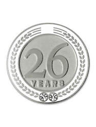 Pinmart's 26 Years Of Service Award Employee Recognition Gift Lapel Pin - White