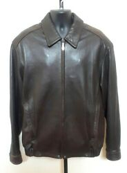 Andrew Marc New York A2 Bomber Cafe Racer Leather Jacket Removable Liner L Tall