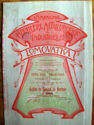 Russian-belgium Bond Colliery Metalurgical And Industrial Of Lomovatka 1899