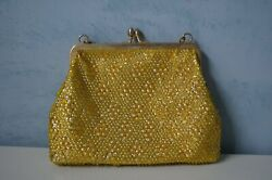 60s Gold Metallic Pearlized Sequin Purse Bag Clutch Stunning