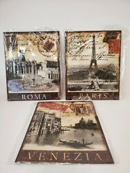Paris, Rome And Venice Metal Wall Art Pictures Vintage Travel Look 8 X 10