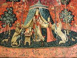 Unicorn Medieval Stale Antique Wall Tapestry France Authentic 65andrdquo By 55andrdquo