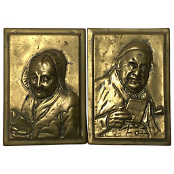 Pair Scottish Victorian Gilt Bronze Pipe Smoker Gentleman And Lady Wall Plaques