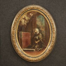 Antique Framework Religious Painting Oil On Canvas Oval Frame 700 18th Century