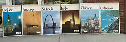 Lot Of 6 Original Twa Airlines Italy England 1965 Vintage Travel Posters 25x40