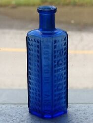 Old Cobalt Blue Coffin Shaped B.f.g.co Glass 3oz Poison Bottle Free Shipping