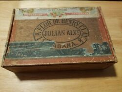 Henry Clay Julian Alv Wooden Cigar Box Including 1917 Coupon
